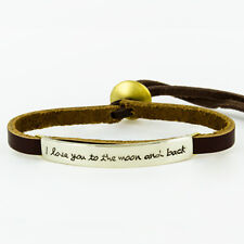 Far Fetched I LOVE YOU TO THE MOON AND BACK Sienna Leather BRACELET Quote Word
