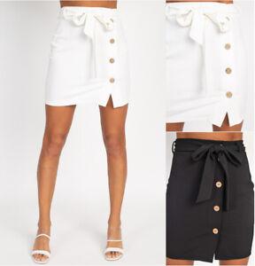 Women's High Waist Skirt Bodyson Self Tie Belted Button Front Mini Stretch Solid