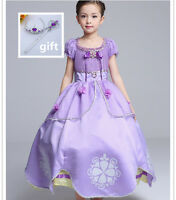 Disney Princess Sofia the First Fancy Party Dress Xmas Halloween Cosplay Costume