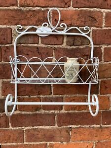 Wall Mounted Metal Basket Shelf with Rail Distressed Painted Finish