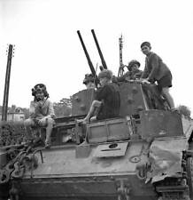 WW2 Photo WWII  French Children Canadian AA Tank France 1944 World War Two/ 3139