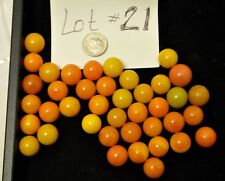 Estate Found Mixed Lot of 40 Vintage Yellow Marbles Lot #21