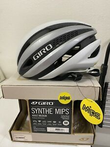 NEW Giro Synthe MIPS Matte White / Silver Size Medium Road Cycling Helmet