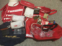 ORIGINAL VINTAGE Lot Of 35 TWA TRANS WORLD AIRLINES Bags Visor Cards Belt Kits +