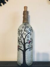 Hand painted Frosted Glass Holiday Spiral Tree With Cardinals Wine Bottle Lamp.