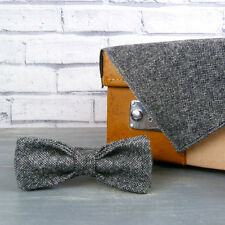 Handmade Yorkshire Tweed Skinny Bow Tie and Pocket Square - Black/Grey