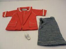 Vintage Barbie Mattel red white nautical jacket, tunic 1 cork sandal 1960's era