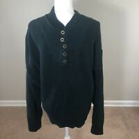 Vintage Old Glory Sweater Men's 100% Cotton Hunter Green 5 Button Front XXL USA