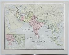 Persia et India Gedrosia Carmania Ariana Ancient Map Circa 1885