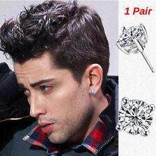 Men's, Youth's, Boys: Platinum Plated 6mm Crystal Diamante Sleeper/Stud Earrings
