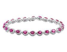 .925 Sterling Silver Pear Shaped Pink Sapphire Diamonds.14ct Ladies Bracelet