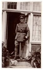 Postcard WW1 Officer With Stick Unknown Regiment British Army RPPC 12a