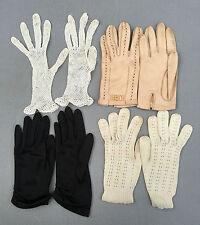 4 anciennes paires de gants vintage brodées, cuir ... french antique gloves