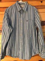American Eagle Men's Vintage Fit Blue & White Striped Shirt Button Down EUC SZ L