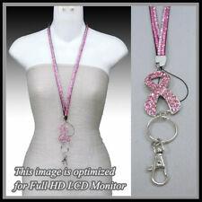 BLING CRYSTAL Pink RIBBON BREAST ID Badge Tag Key Card CANCER Necklace Lanyard