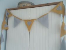 BUNTING MUSTARD GREY HEART GOLD SHABBY CHIC PARTY 2 METRES CELEBRATION