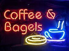 "Coffee Bagels Cafe Open Neon Lamp Sign 17""x14"" Bar Light Glass Artwork Windows"