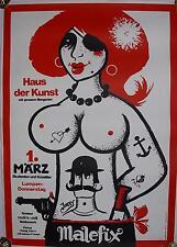 Plakat Malefix Fasching Karneval Akt Erotik HdK Pirat Perücke Lumpen-Donnerstag