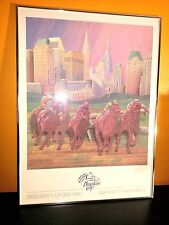 1985 BREEDERS CUP DAY HAND SIGNED #208 FRAMED AQUEDUCT RACE TRACK ART PAINTING