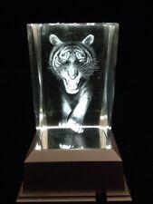 3 D Laser Etched Crystal Block With white Lights LED Light base-Tiger