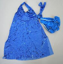 Curtain Call Dance Costume Dress Child Girls Size Large L CLA Blue Sequin Outfit