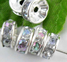Free Ship 1000pcs Silver Plated Crystal Spacer Beads 8mm AB