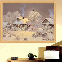 NEW 5D Diamond Painting Cross Stitch Kit Snow House  Home Decor Gift 30x25cm HOT