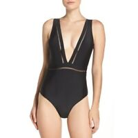 Ted Baker Starza Black One Piece Swimsuit Deep V Neck Plunge Size US 12 Large