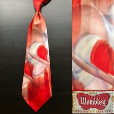 "91fdb6721617 Wembley ""Curls"" Hand-Painted Dark Orange Tie EUC VTG 1940s 1950s Swing Bold"