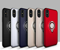 For iPhone XR 6 7 8 Plus Phone TPU Rubber Case Skin Cover With Ring Stand Holder