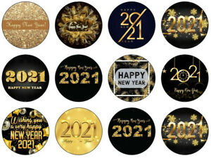 Happy NEW YEAR 2021 Edible Icing Cupcake topper  12 x 2 inches SET 24