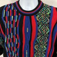 Tundra Textured Sweater XL Bright Rainbow Geometric Coogi Style Biggie Cosby