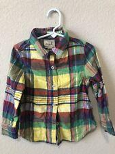 EUC Peek Girls Flannel Long Sleeve Plaid Size XS 2-3 2T-3T