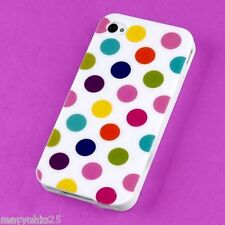 White Colorful Dots Back Skin Hard Cover Case for Apple i phone 4 4S 4G G S