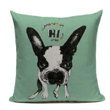 Boston Terrier Hi Hello B7 Cushion Pillow Cover French Bulldog Pet Funny Cute