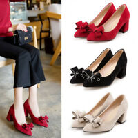 Women's Mid Block Heel Shoes Slip On Bowknot Pointed Toe Casual Shoes Pumps Size
