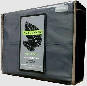 New Dark Blue QUEEN Sheet Set Pure Beech 400 Thread Count Modal Sateen 4-piece