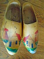 Rustic Vintage Carved Painted Dutch Wooden Shoes Clogs Holland Windmill Wood 27