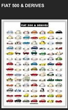 Fiat 500 & Derives History Car Poster Extremely Rare! Own It! Stunning!