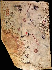 PIRI REIS MAP - 1513 High Quality on Archival Canvas for Framing