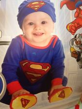 NEW!  Superman HIGH QUALITY Sewn on LOGO Costume 0-6 Months With Hat