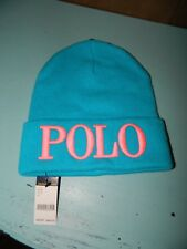 Ralph Lauren Polo Knit Beanie Hat Turquoise/Pink One Size NWT! $48