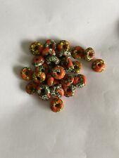 African Glass Disc Beads Orange Qty 27