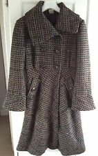 Jacqueline Riu Long Shawl Collar Coat Winter Tweed Effect Ladies EU 36 UK 8