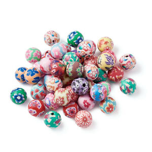 200 x 10mm Mixed Color Handmade Polymer Clay Round Flower Beads Jewelry Making