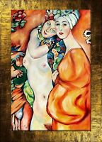 Gustav Klimt - Freundinnen-107x77 Ölgemälde Handgemalt Leinwand Rahmen G00342
