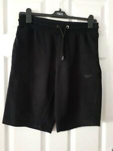 Mens Armani Shorts Tracksuit Bottoms Style Original Black Zip Pockets Size M
