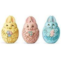 """Enesco Jim Shore Heartwood Creek Set of 3 Mini Bunny Easter Eggs, 2.5"""" 6006518"""