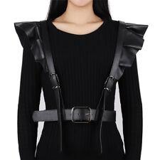 Black Fashion PU Leather Harness Belt Frilled Shoulder Strap Punk Sling