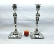 Pair Edwardian Sterling silver Adam style neoclassical candlesticks 1903 30cm